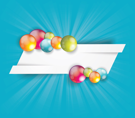 White cut banner with bright glossy balls. Illustration