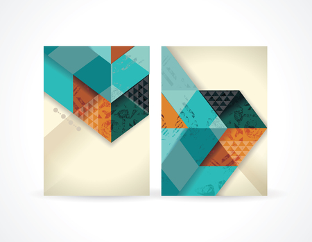 Banners with abstract retro geometric  pattern with triangles. Vector Illustration Illustration