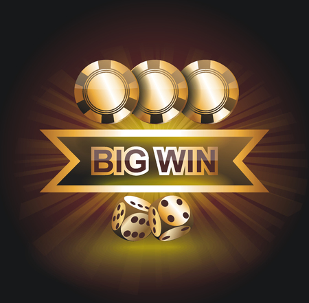 Big Win gold sign for online casino, poker, roulette, slot machines, card games. Vector design template. Illustration