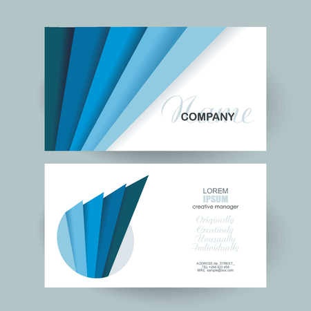 Business cards with blue layers design. Vector Template layout. Illustration