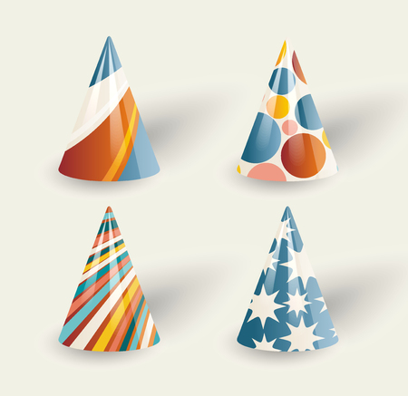 Set of party paper hats on white background, retro style.
