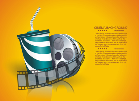 Movie time vector poster design template. Illustration