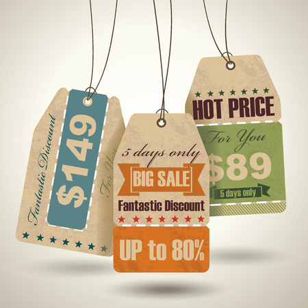 Set of sale labels, paper tags, vintage design.