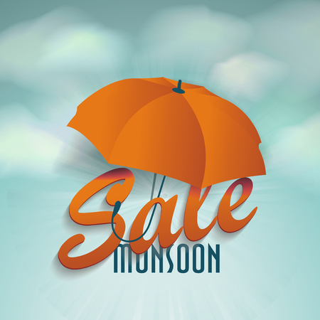 Creative Sale Design Of Monsoon Offer With 3D Word SALE and Umbrella on the sky with clouds. Ilustração