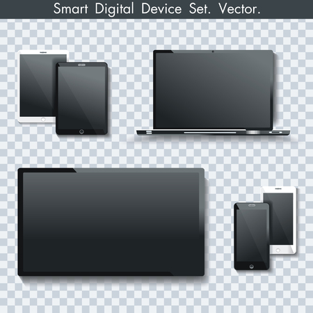 Realistic set of TV panel, computer monitor, laptop, tablet pc and  smartphone on transparent background. Illustration