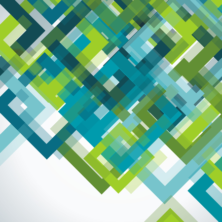 Bright geometric background from blue and green transparent frames, vector texture pattern.