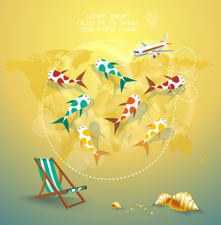 Travel around the world design with top view map, airplane and sea bottom with fish and paradise beach. 矢量图像
