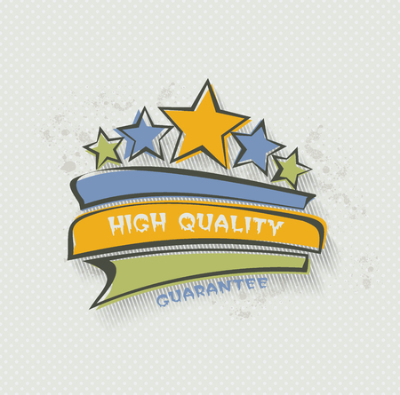 Fat label HIGH QUALITY. Paper tags,promotion  banners with stars.