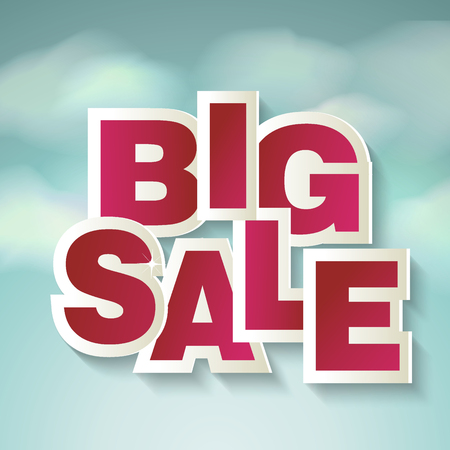 Creative sale design with words BIG SALE on blue sky and clouds.