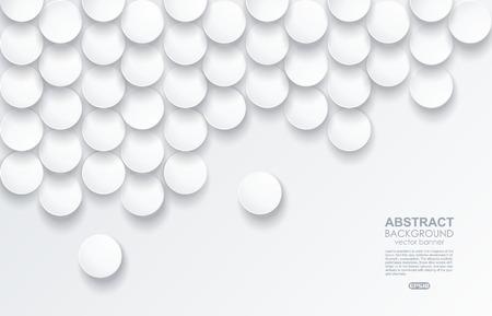 White elegant paper circles background. Vector illustration.  イラスト・ベクター素材