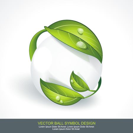 Abstract sphere icon with green leaves. Volume  design Eco sign.