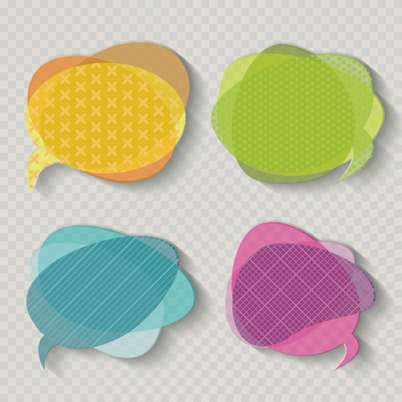Speech Bubbles Icons in retro shades, on vintage transparent background.