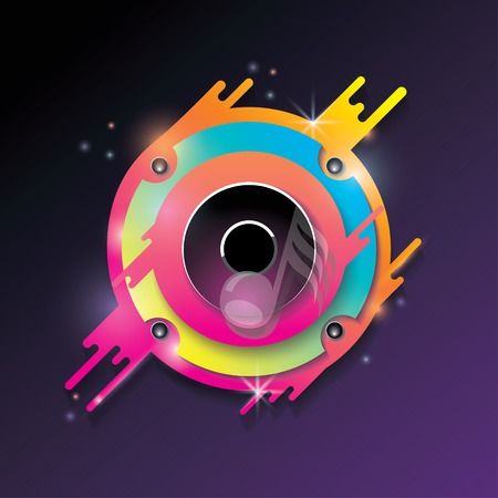 Music vector background with bright color audio speaker. Illustration