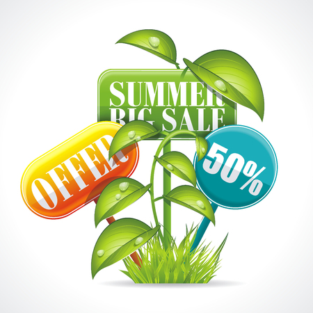Summer Sale badge kit   with grass, leaves and flowers elements.  Illusztráció