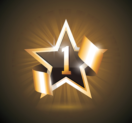 Vector sign Number One, 1 first place winner, excellent choice golden star sign. Ilustrace
