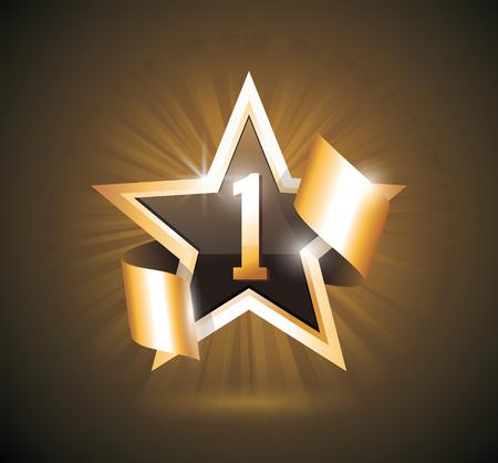 Vector sign Number One, 1 first place winner, excellent choice golden star sign. Ilustração