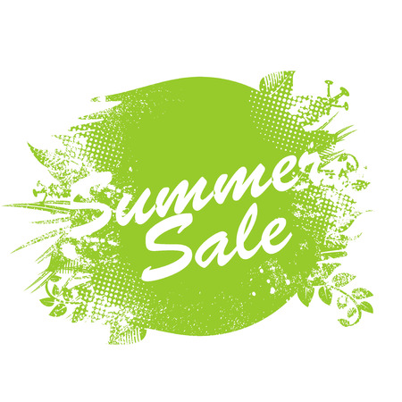 Summer Sale label with ink splashes, leaves and flowers elements.
