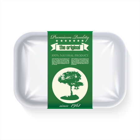 Premium Quality Natural Product Label on Plastic Tray Container with Cellophane Cover. Packaging Design Label.