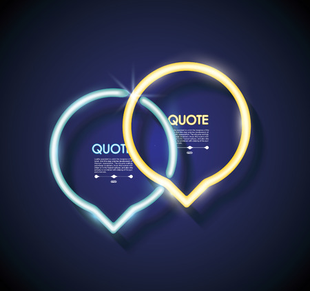 Set neon chat bubbles or quote frames. Vector lighting sign.