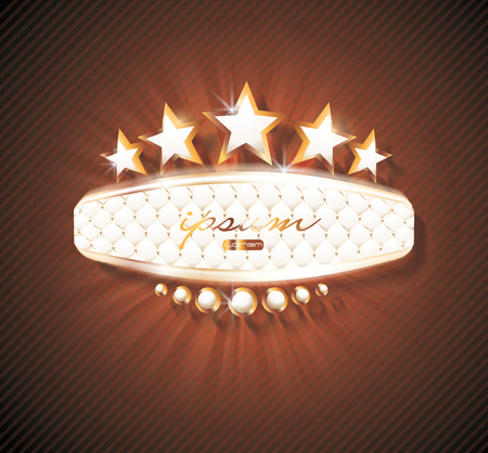 3d signboard with leather upholstery patternt and gold stars. Can be used as Cinema, Casino, Night Club or other street Sign. Illustration