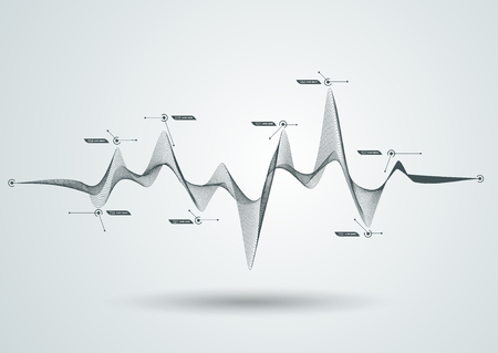 Abstrakte schwarze dynamische Linie. Kann für digitale Equalizer, Schallwellen oder Infografik- und Timeline-Elemente verwendet werden.