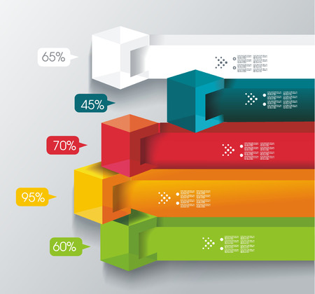 Abstract cubes and banners infographics with percents template. Can be used for diagram, data,  step options, banner, web design.