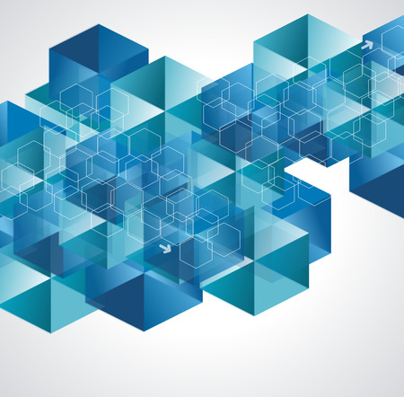 Abstract geometric background from transparent blue cubes with cells layer