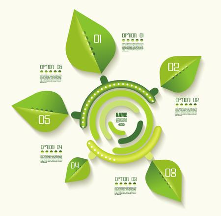 Plantilla de infografías ecológicas. Conjunto de elementos de diseño gráfico, vector. Ilustración de vector