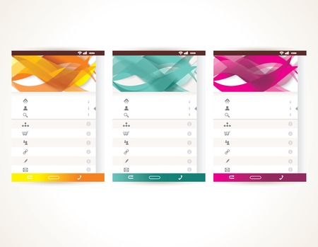 Web User Interface elements. Menu, mobile apps, vector illustration. Vectores