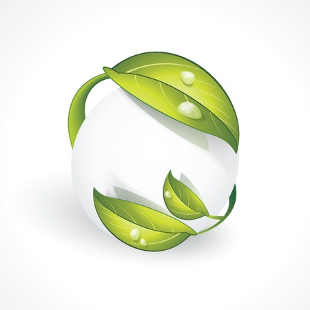 Abstract sphere icon with green leaves