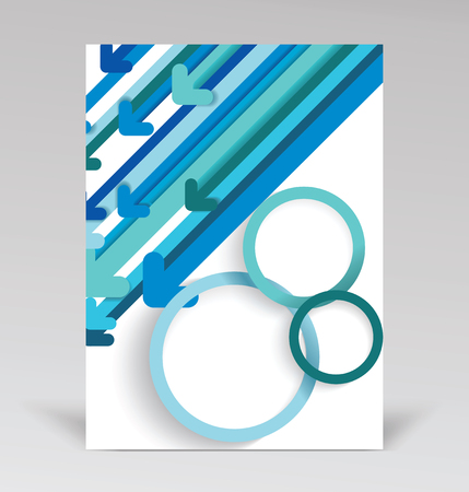 Brochure cover design with blue paper arrows abstract background, vector.