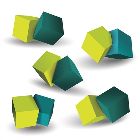 Vector set of blue and green 3d cubes structure, over white background.