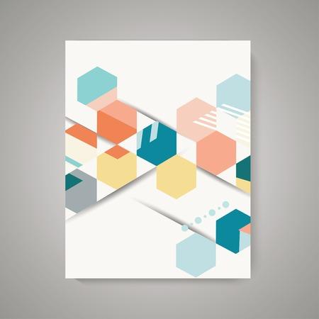 Disegno vettoriale di copertina di una rivista con sfondo astratto esagono poligonale vintage. Motivo geometrico.