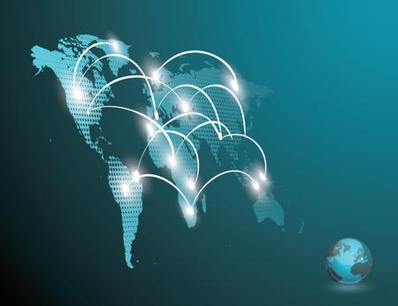 3d vector Light World map with pointer marks - communication concept and infographics design template Ilustração