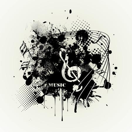 Cartel de música grunge plantilla para fiesta, festival de rock, club nocturno. Banner de grunge con una tira de regate entintado y copie el espacio. Ilustración de vector