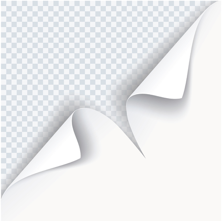 White paper page curl with shadow on transparent background.