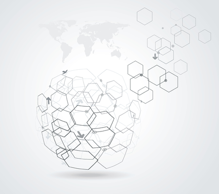 Networks -abstract globe symbol, internet and social network concept.