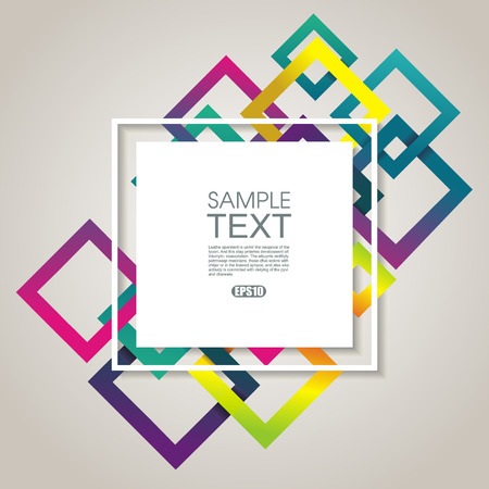 Bright geometric background from rainbow rhombus frames, vector texture pattern.