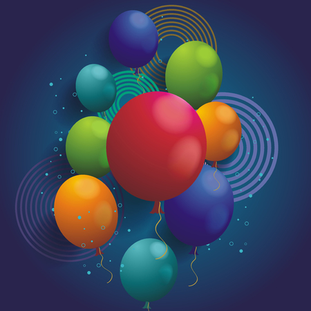 Holiday background with ballons and geometric elements, vector background. Иллюстрация