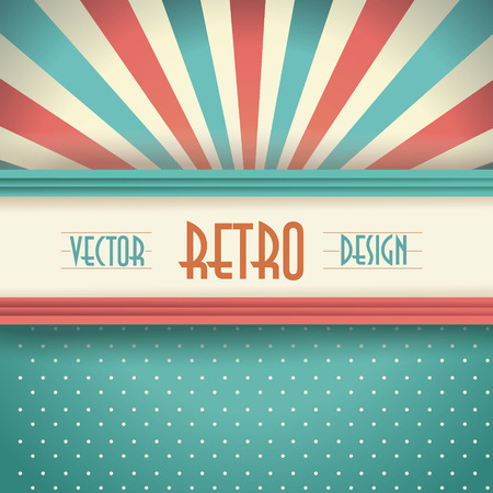 Vintage faded background with retro stripes, dots and beams.