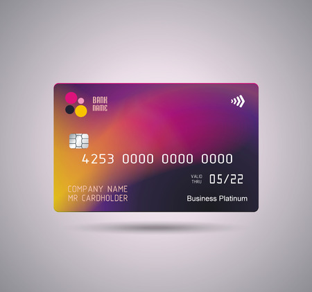 Credit card bright purple design  with shadow. Detailed abstract glossy credit card concept  for business, payment history, shopping malls, web, print.