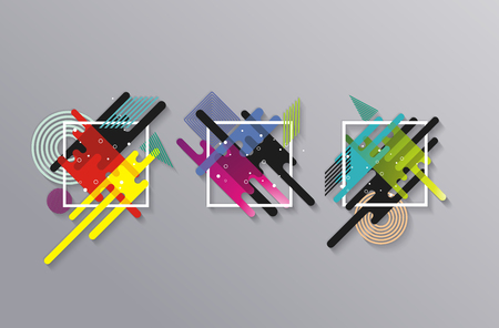 Colored signs in abstract shape, vector background.