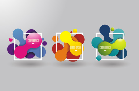 Colored signs from bubbles and frames in abstract shape, vector background. Vettoriali