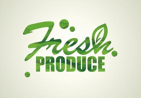 Diseño FRESH PRODUCE. Concepto de alimentos orgánicos naturales, icono de productos agrícolas ecológicos.
