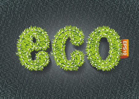 Eco label design template in textile or grass texture.