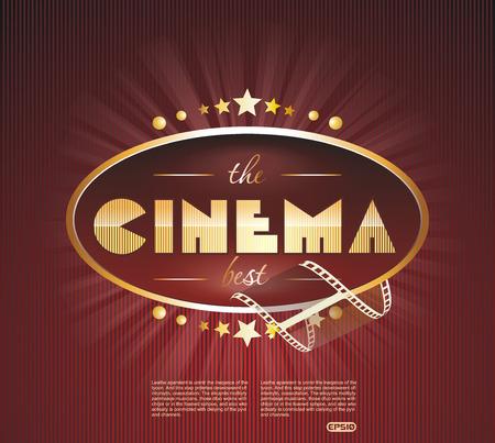 The retro cinema scoreboard with a film and golden stars, vector illustration. Ilustração