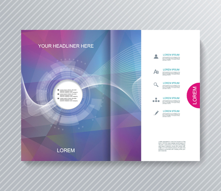 Magazine, Brochure or Flyer design with abstract geometrical polygonal background.