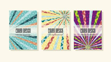 Brochures design template with vintage faded background, retro stripes or beams.