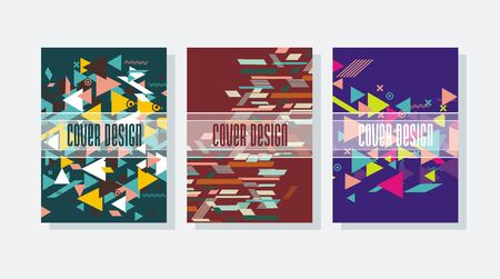 Business brochure design template with hipster stile geometric patterns.