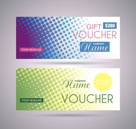 Gift voucher template with creative concept  art style  layout template of  an isolated dots background, vector.